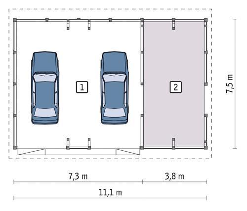 Rzut parteru POW. 73,2 m²
