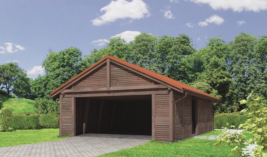 G45S Wiata garażowa z pomieszczeniem gospodarczym