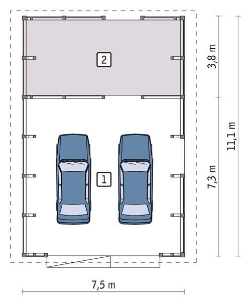 Rzut parteru POW. 73,3 m²