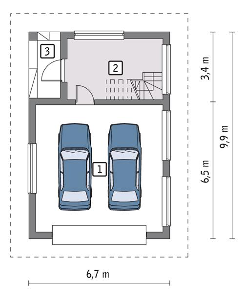 Rzut parteru POW. 49,4 m²
