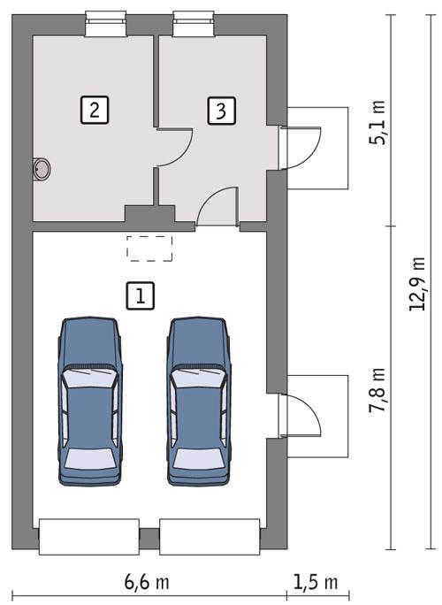 Rzut parteru POW. 65,7 m²
