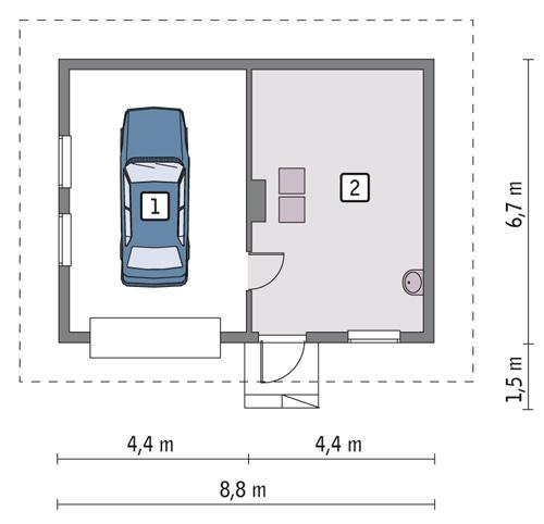 Rzut parteru POW. 47,0 m²