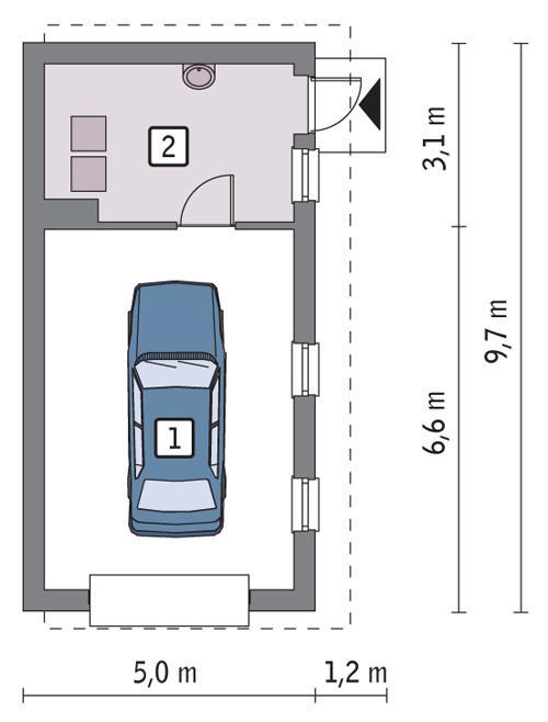Rzut parteru POW. 36,7 m²