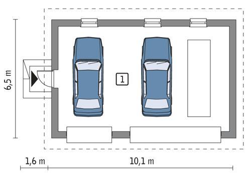 Rzut parteru lustro POW. 53,5 m²