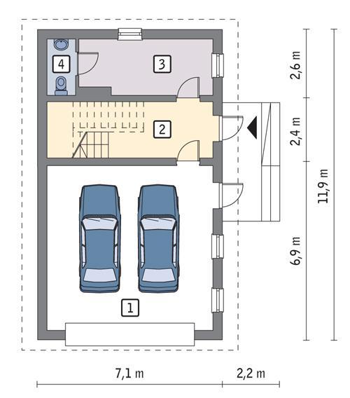 Rzut parteru POW. 65,8 m²