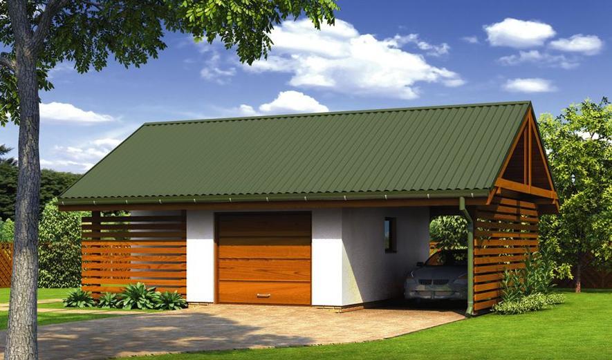 G57a Garaż z pomieszczeniem gospodarczym i wiatą garażową