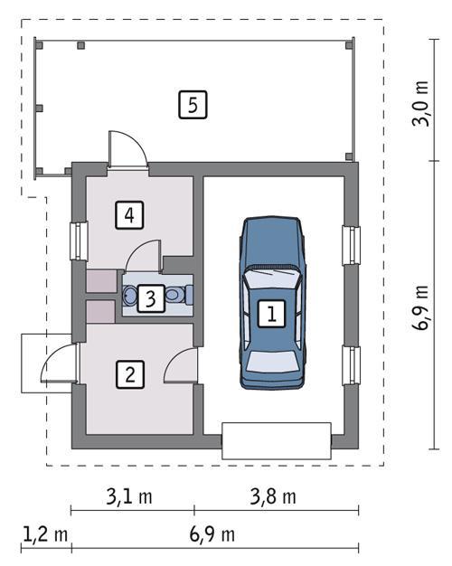 Rzut parteru POW. 34,3 m²