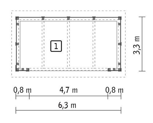 Rzut parteru POW. 15,4 m²