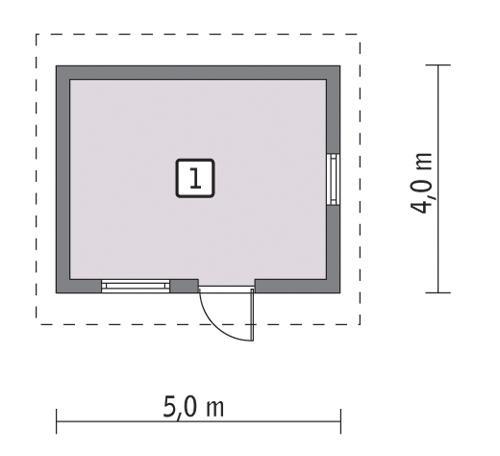 Rzut parteru POW. 15,7 m²
