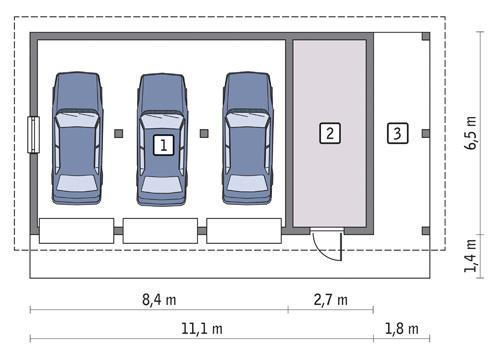 Rzut parteru POW. 59,7 m²