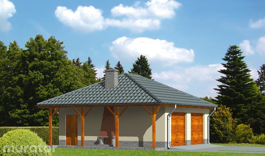 GC21 Garaż z pomieszczeniem gospodarczym i wiatą rekreacyjną