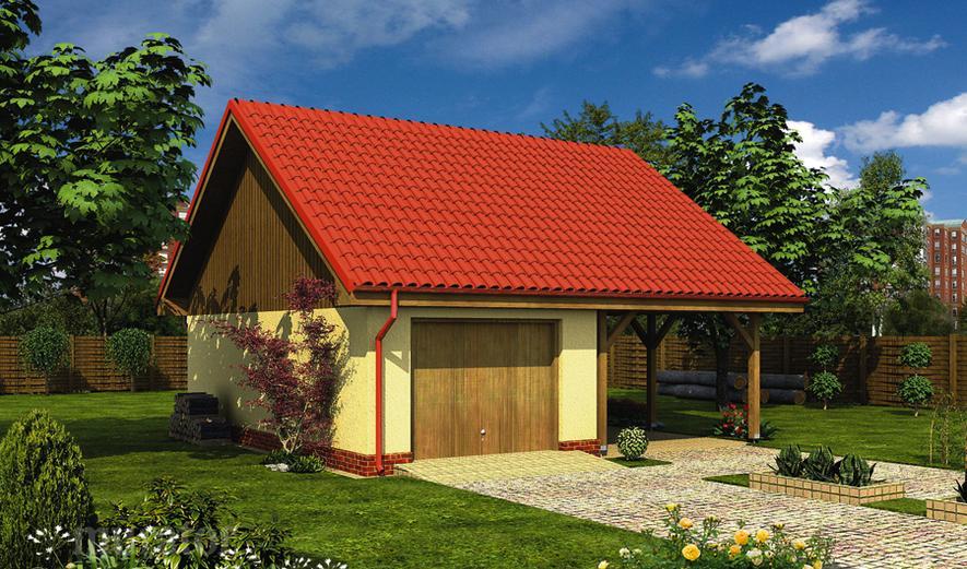 GC22a Garaż z pomieszczeniem gospodarczym, schowkiem i wiatą garażową