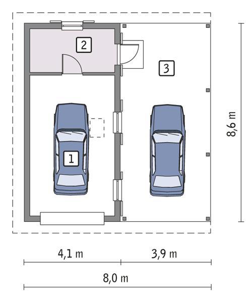 Rzut parteru POW. 28,6 m²