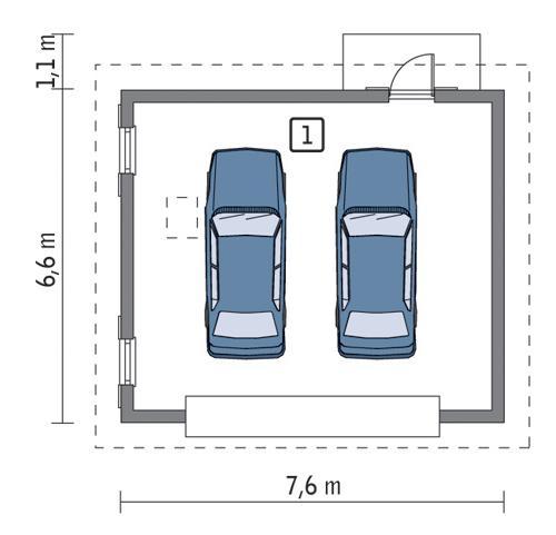 Rzut parteru lustro POW. 42,4 m²