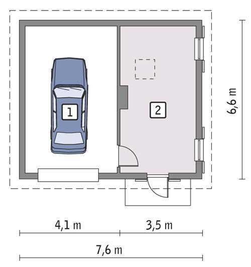 Rzut parteru POW. 41,1 m²