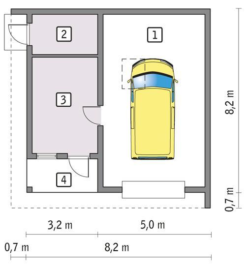 Rzut parteru POW. 52,3 m²