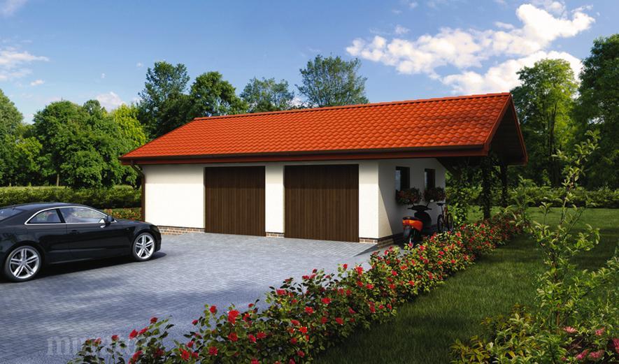GC33 Garaż z pomieszczeniem gospodarczym i wiatą rekreacyjną