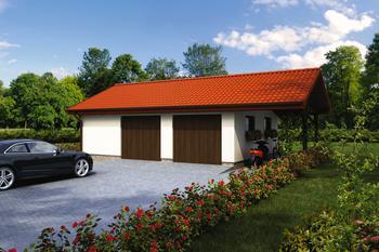 Garaż z pomieszczeniem gospodarczym i wiatą rekreacyjną GC33