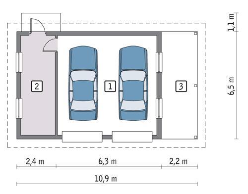Projekt Garażu Gc33 Garaż Z Pomieszczeniem Gospodarczym I Wiatą