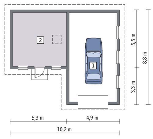 Rzut parteru POW. 61,6 m²
