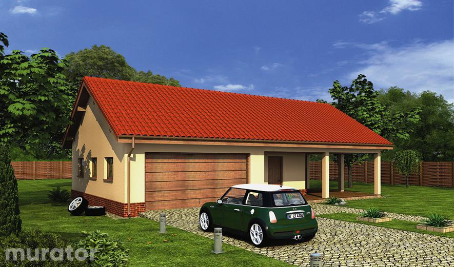 GC37 Garaż z pomieszczeniem gospodarczym, schowkiem i wiatą garażową