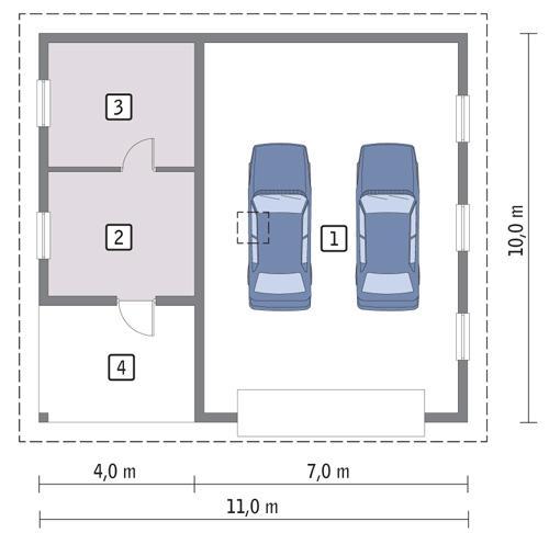 Rzut parteru POW. 85,2 m²
