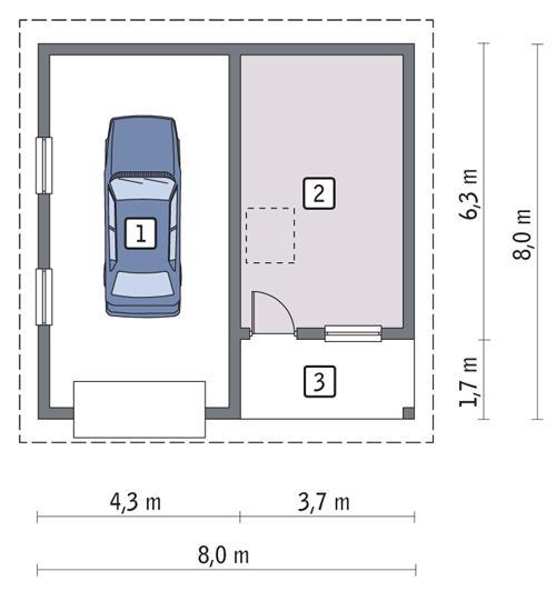 Rzut parteru POW. 48,3 m²