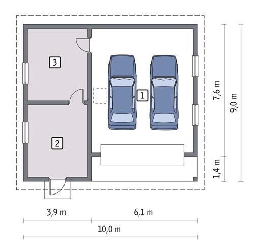 Rzut parteru POW. 69,3 m²