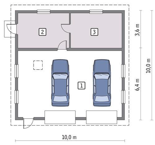 Rzut parteru POW. 87,0 m²