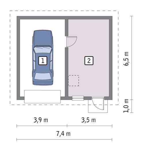 Rzut parteru POW. 39,7 m²