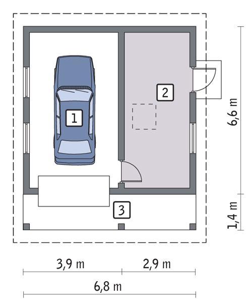 Rzut parteru POW. 36,6 m²