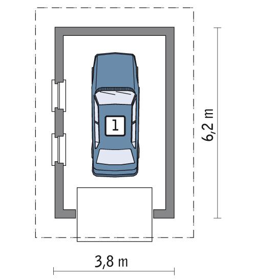 RZUT PARTERU POW. 19,7 m²