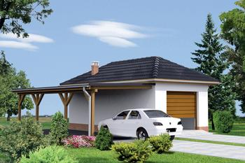 Garaż z pomieszczeniem gospodarczym i wiatą garażową