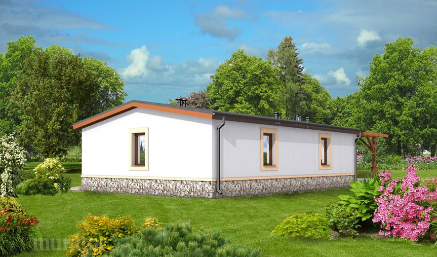 GC50 Garaż z częścią mieszkalną, pomieszczeniem gospodarczym i wiatą rekreacyjną