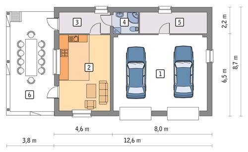 Rzut parteru POW. 88,4 m²