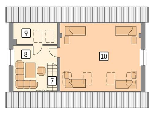 Rzut poddasza POW. 74,3 m²
