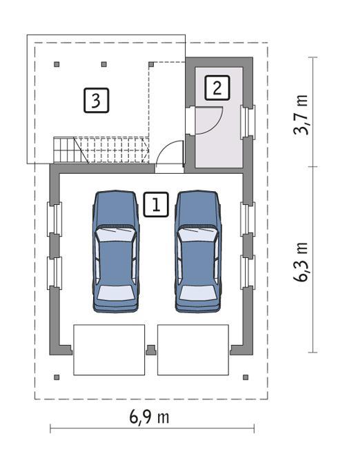 Rzut parteru POW. 41,4 m²