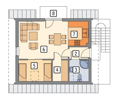 Rzut poddasza POW. 43,4 m²