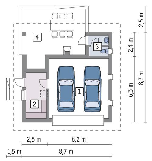 Rzut parteru POW. 44,7 m²