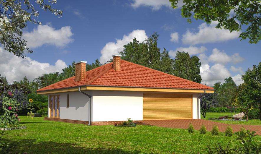 GC58 Garaż z pomieszczeniem gospodarczym, sauną i wiatą rekreacyjną