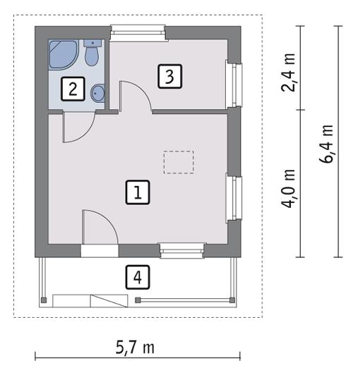 Rzut parteru POW. 26,3 m²