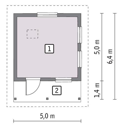 Rzut parteru POW. 19,8 m²