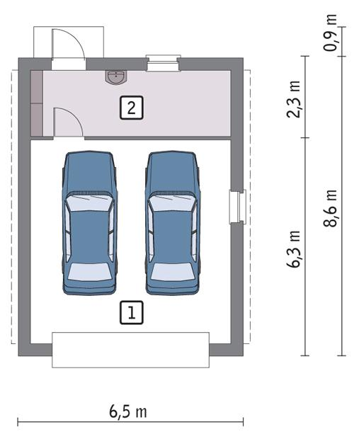 Rzut parteru POW. 44,3 m²
