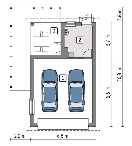 RZUT PARTERU POW. 48,7 m²