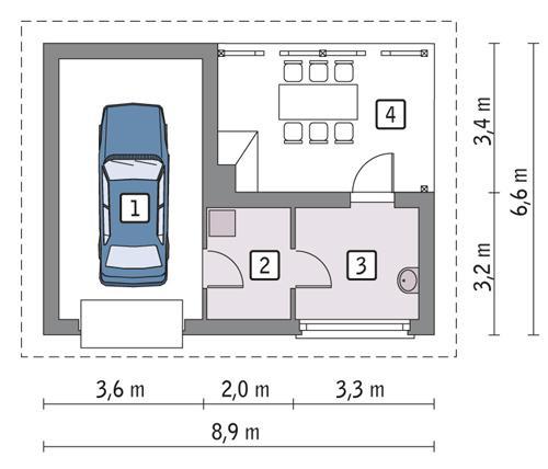 Rzut parteru POW. 30,7 m²