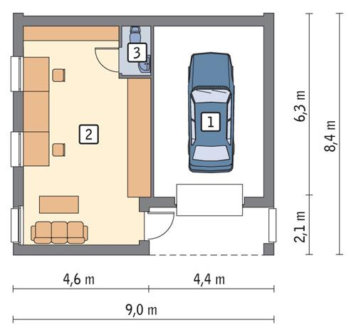 Rzut parteru POW. 54,4 m²