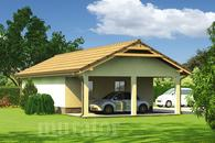 GC74 Garaż z pomieszczeniem gospodarczym i wiatą garażową
