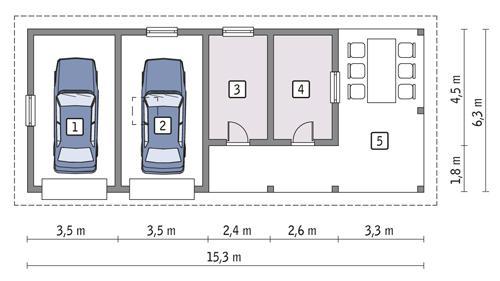 Projekt Garażu Gc76 Garaż Z Pomieszczeniem Gospodarczym I Wiatą