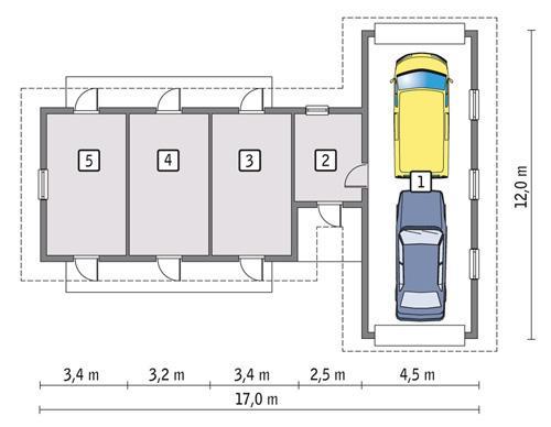 Rzut parteru POW. 105,1 m²