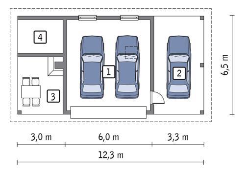 Projekt Garażu Gc78 Garaż Z Wiatą Garażową I Wiatą Rekreacyjną